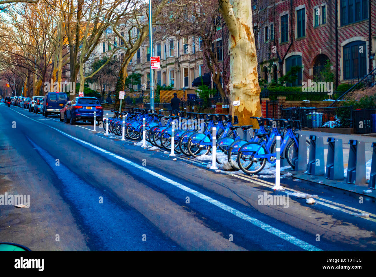 Citi bike Bicycles parked at Park Slope street. - Stock Image