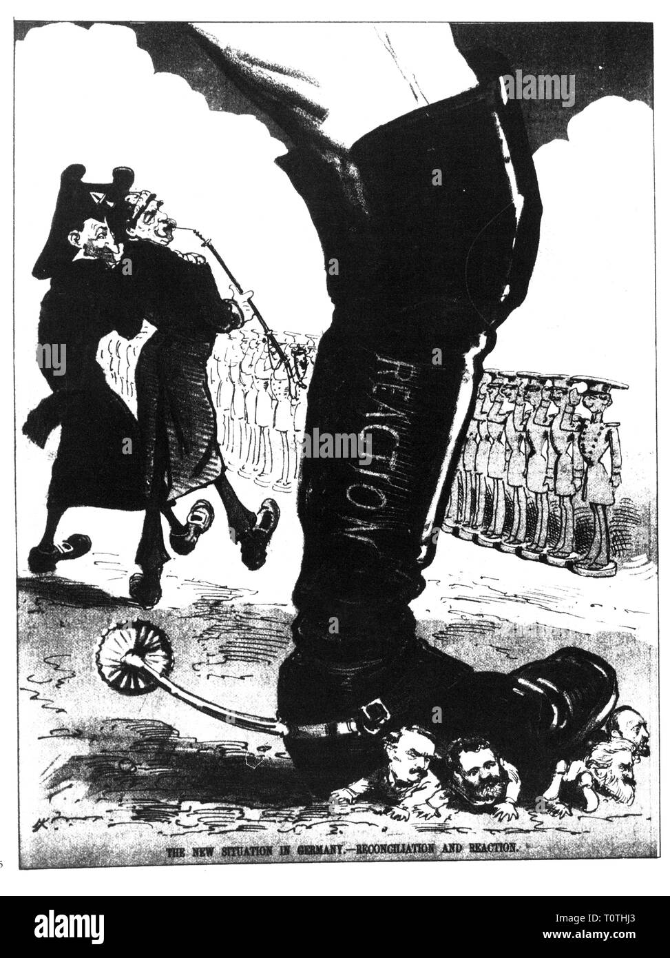 politics, Anti-Socialist Law, caricature, 'The new situation in Germany. Reconciliation and Reaction', drawing, 'Puck', New York City, 21.8.1878, Additional-Rights-Clearance-Info-Not-Available - Stock Image