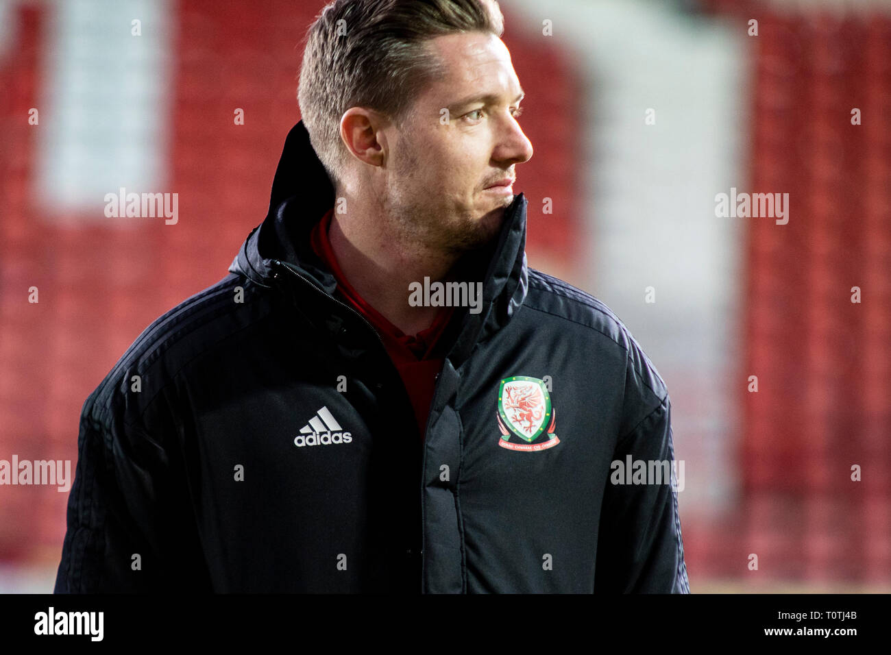 Wayne Hennessey of Wales arrives pre match. Wales v Trinidad & Tobego International friendly at the Racecourse Ground, Wrexham. - Stock Image