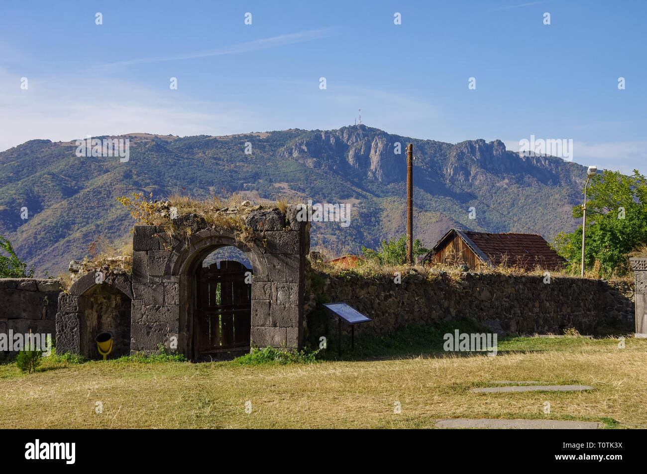 Gate and wall of medieval Armenian monastic complex Haghpatavank, Haghpat Stock Photo