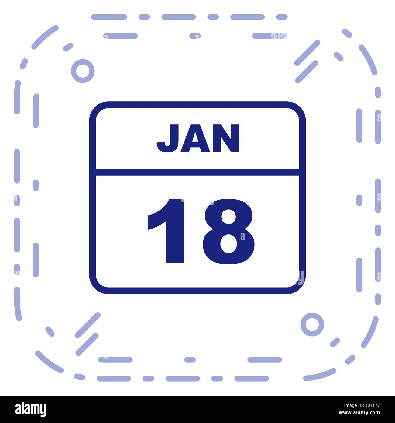 January 18th Date on a Single Day Calendar - Stock Image