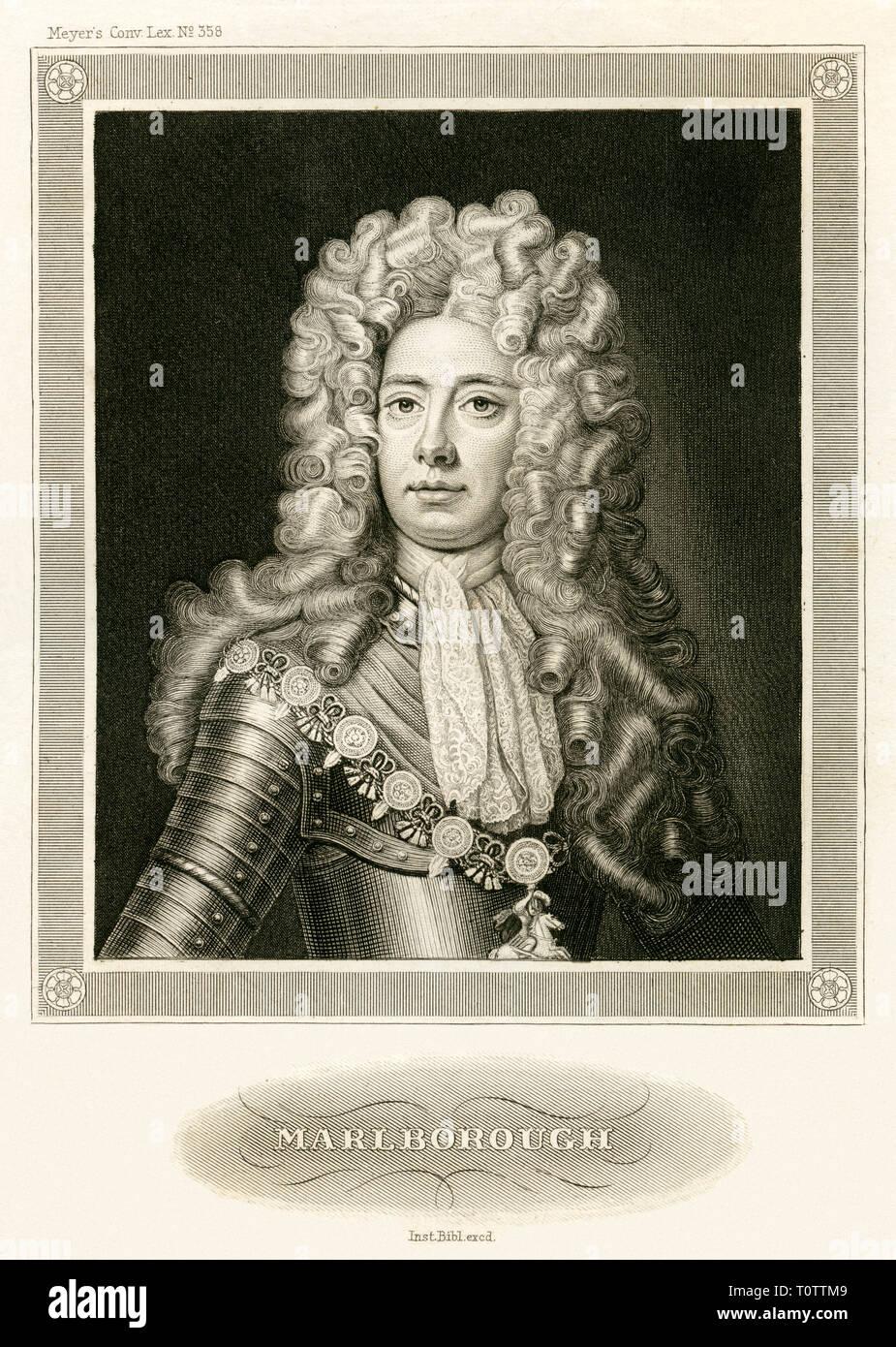 Europa, Großbritannien, Blenheim Palace, John Churchill 1. Duke of Marlborough , Stahlstich , um 1840, das Motiv stammt aus einem Buch des 19. Jahrhun Stock Photo