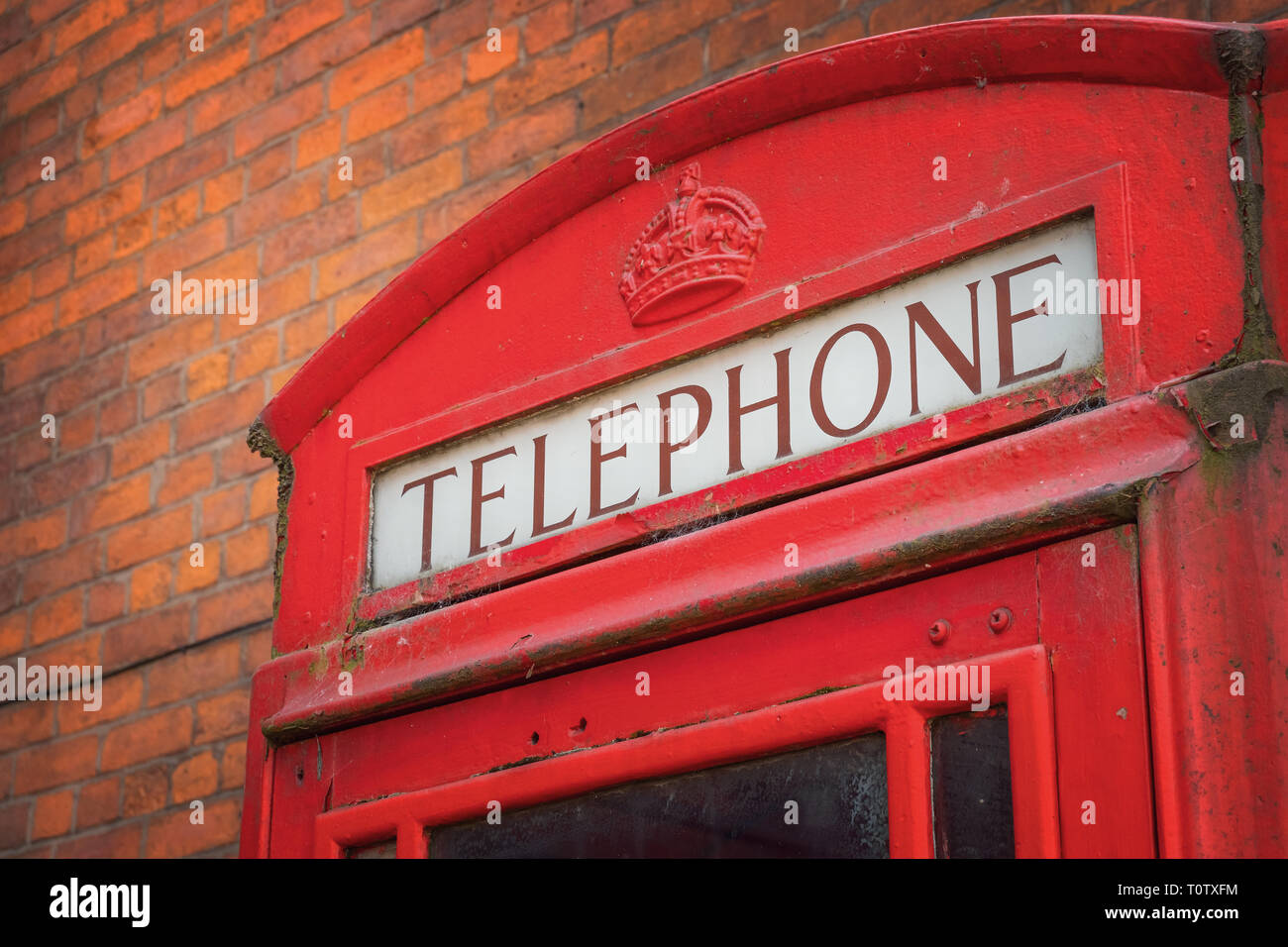 Manchester, UK - May 19 2018: Traditional vintage red K6 telephone kiosk at the Science and Industry Museum - Stock Image