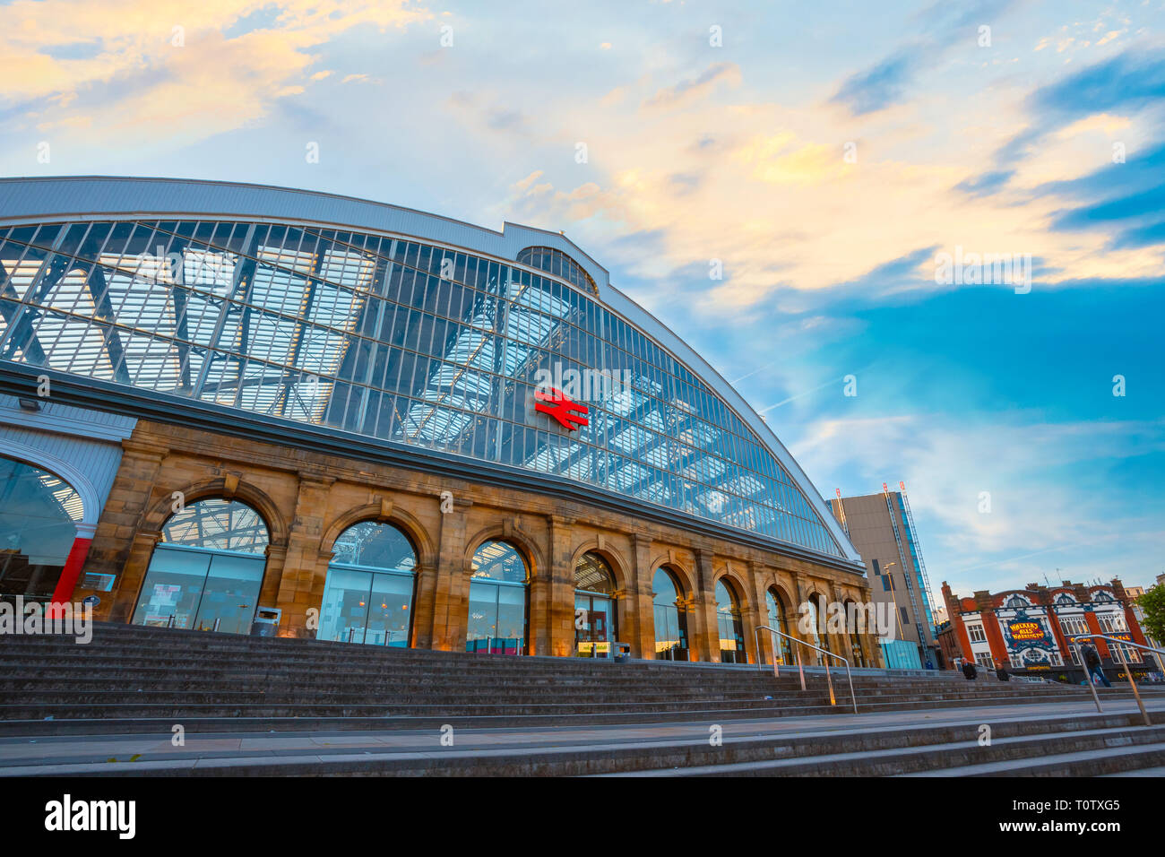 Liverpool, UK - May 18 2018:Liverpool Lime Street is a terminus railway station serves the city centre, opened in August 1836, it's the oldest grand t - Stock Image