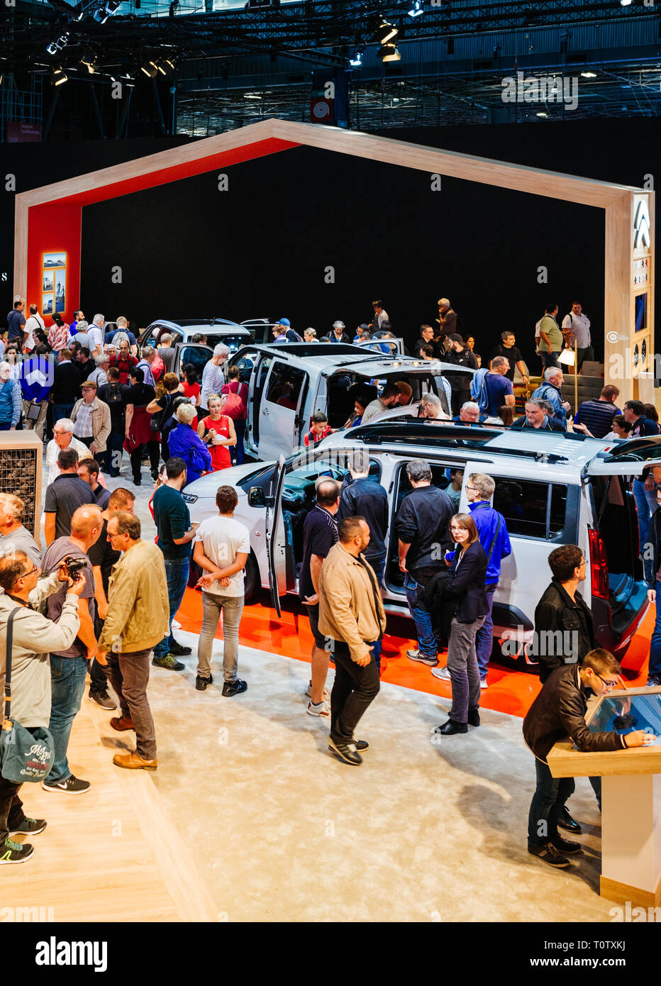PARIS, FRANCE - OCT 4, 2018: Customers and curious people admiring the new Citroen van at International car exhibition Mondial Paris Motor Show, model produced by French car maker - Stock Image
