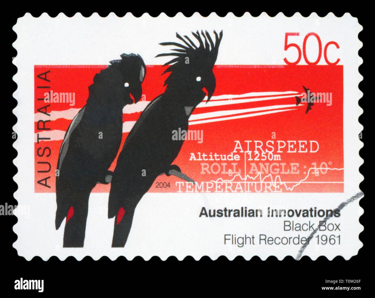 AUSTRALIA - CIRCA 2004: A used postage stamp from Australia, celebrating Australian Innovations - the Black Box Flight Recorder, circa 2004. - Stock Image