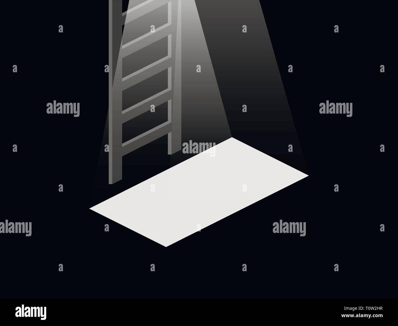 Light from the open door to the basement. Stairs from the basement to the top. Vector illustration - Stock Vector