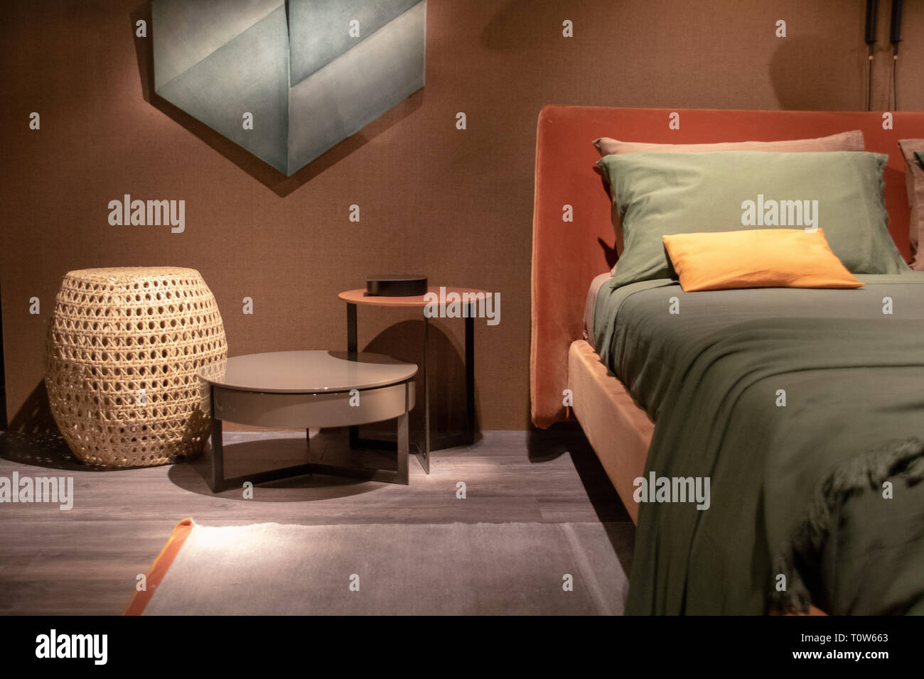Showroom Bedroom Setup With Brown Background Wall Stock Photo Alamy