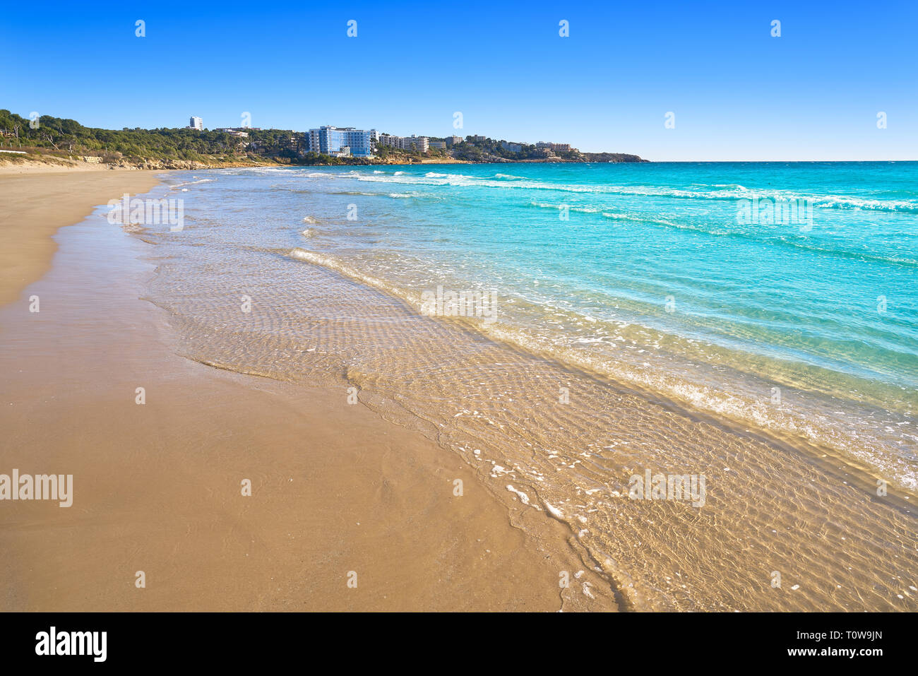 Platja Llarga Salou beach in Tarragona of Catalonia Stock Photo