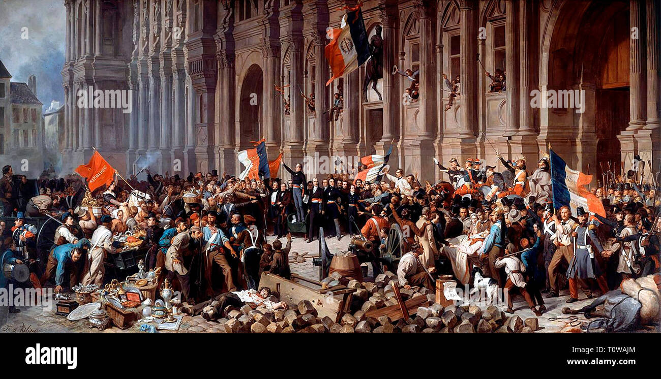 Lamartine in front of the Town Hall of Paris rejects the red flag on 25 February 1848 - Henri Félix Emmanuel Philippoteaux - Stock Image