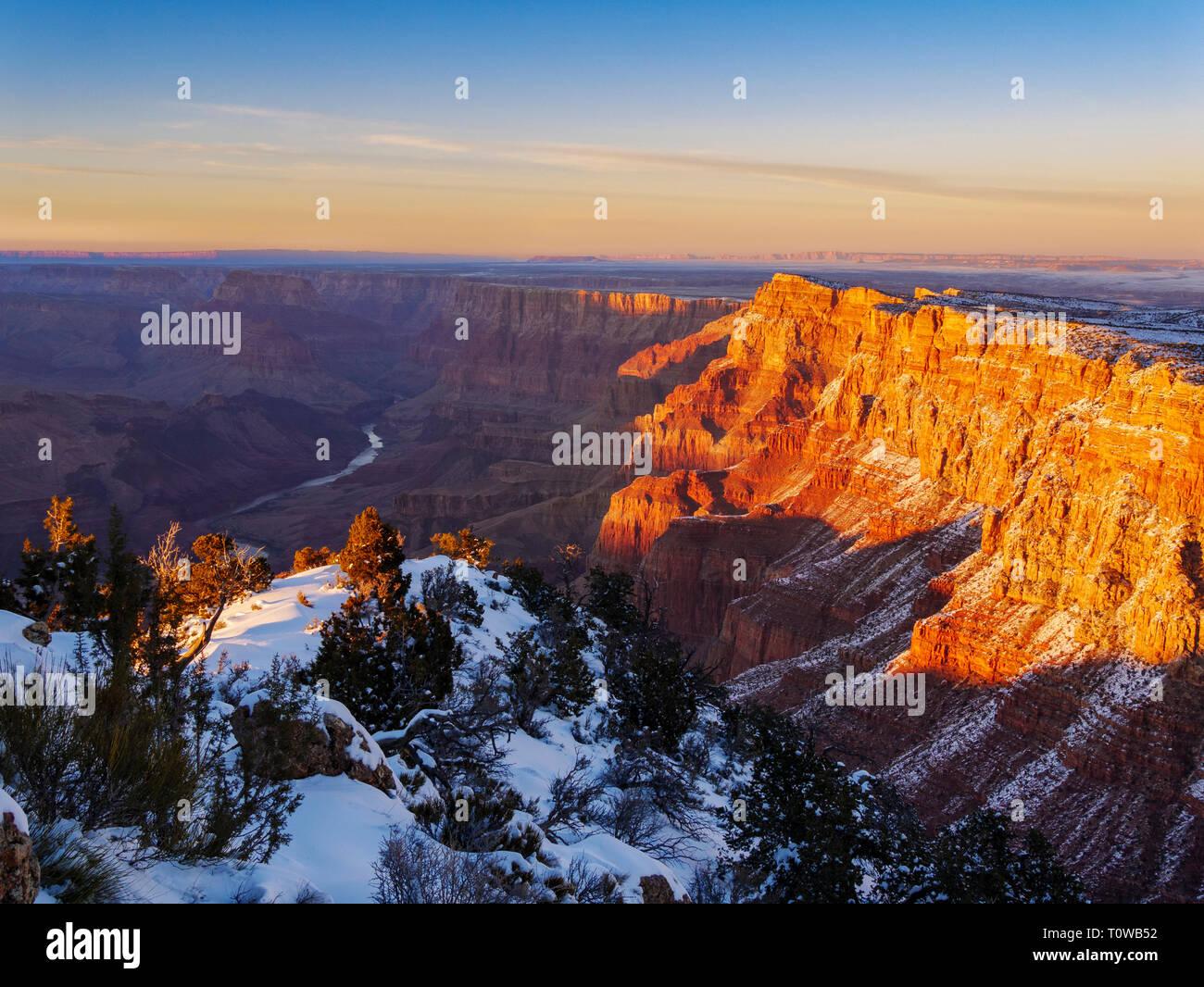 Desert View at Sunset. Grand Canyon National Park, Arizona. Palisades of the Desert at right. Stock Photo
