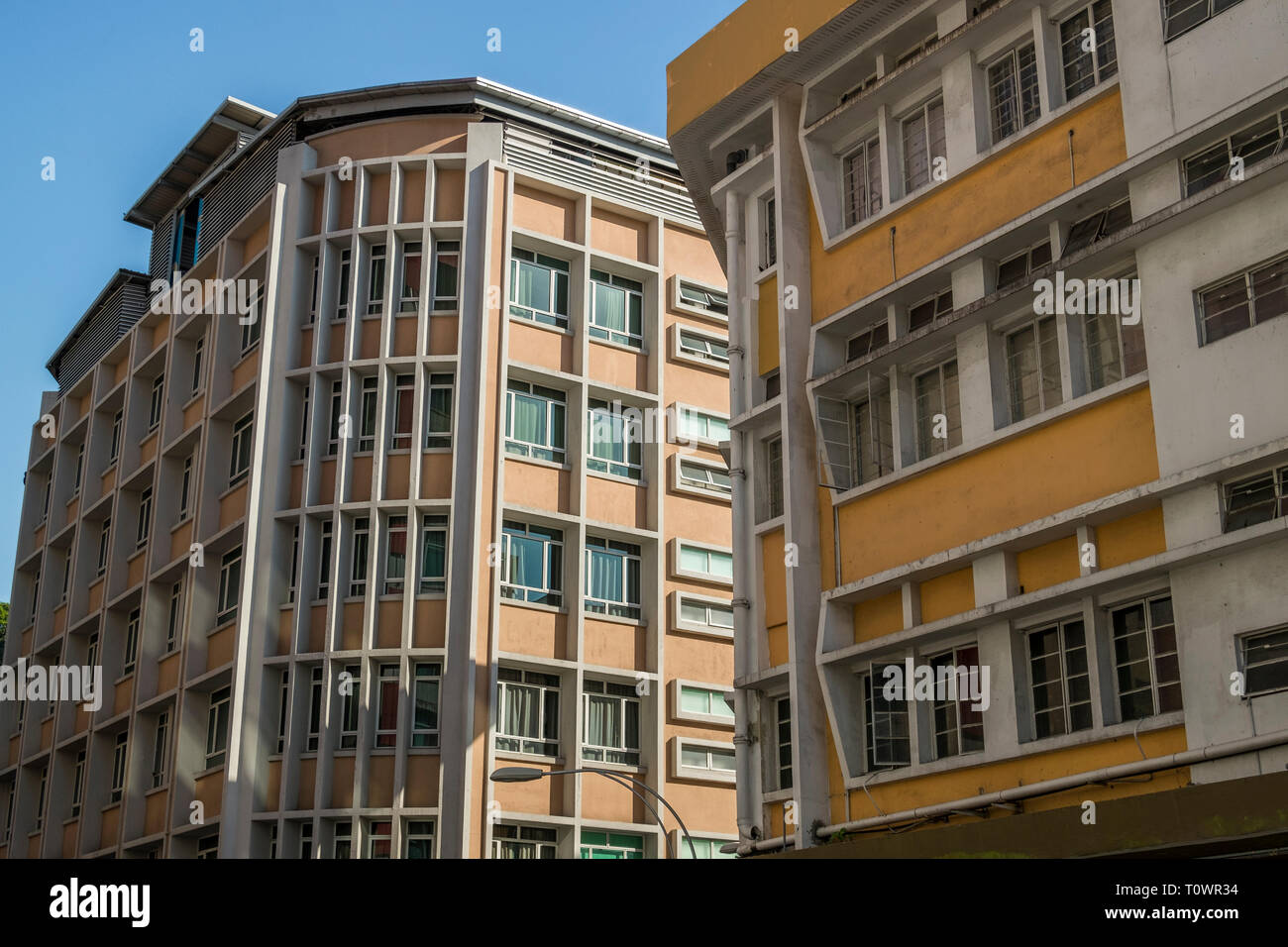 Typical 1960's architecture in Kota Kinabalu, Sabah, Borneo, Malaysia. - Stock Image
