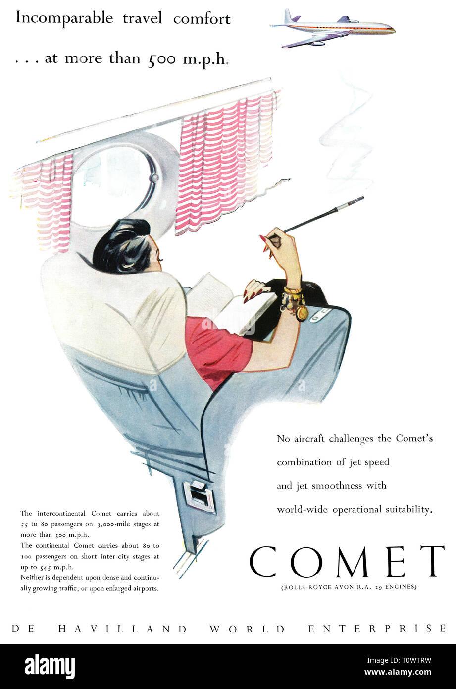1957 British advertisement for the de Havilland Comet jet airliner. - Stock Image