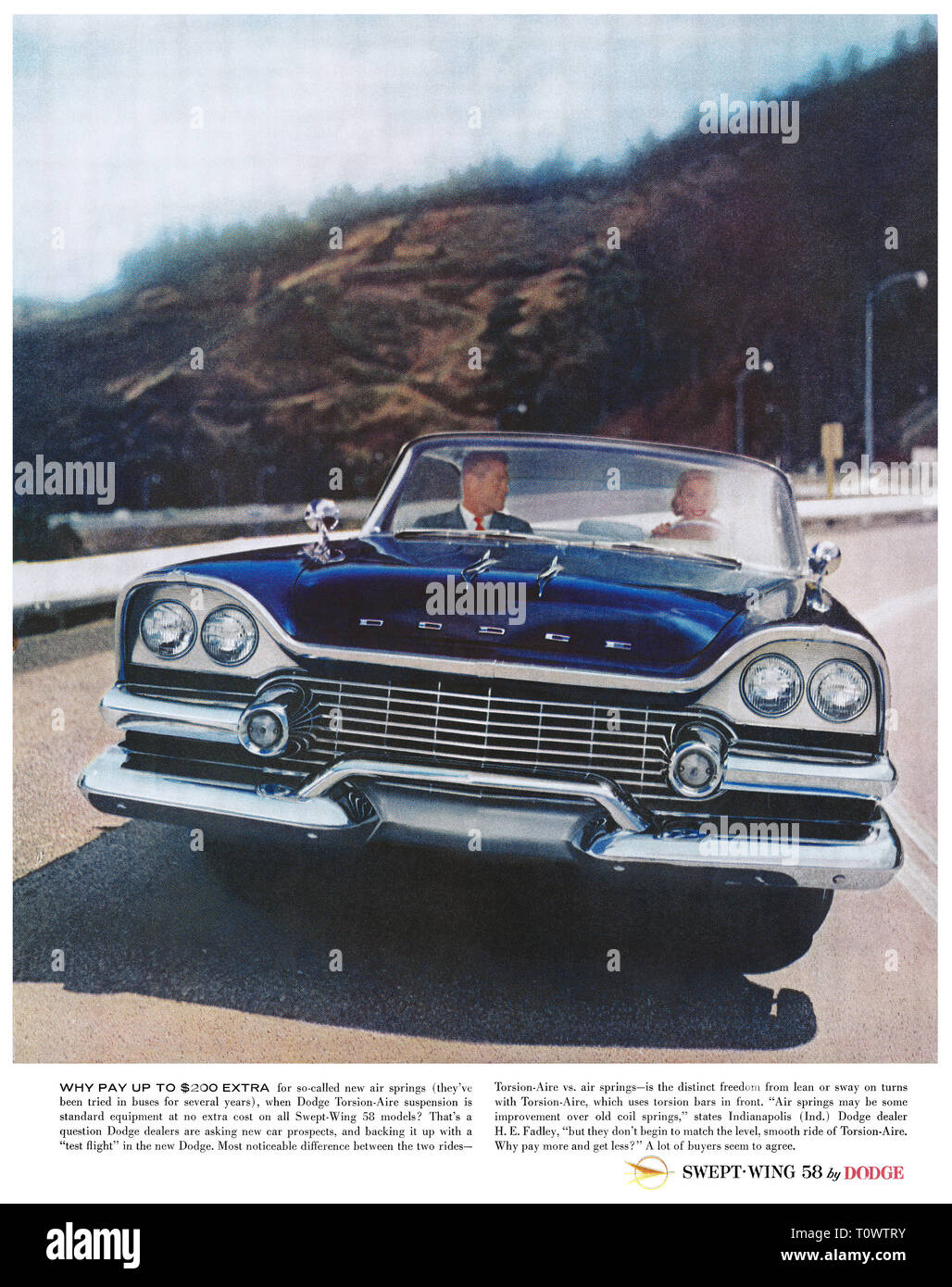 1957 U.S. advertisement for the 1958 Dodge Swept-Wing automobile. - Stock Image