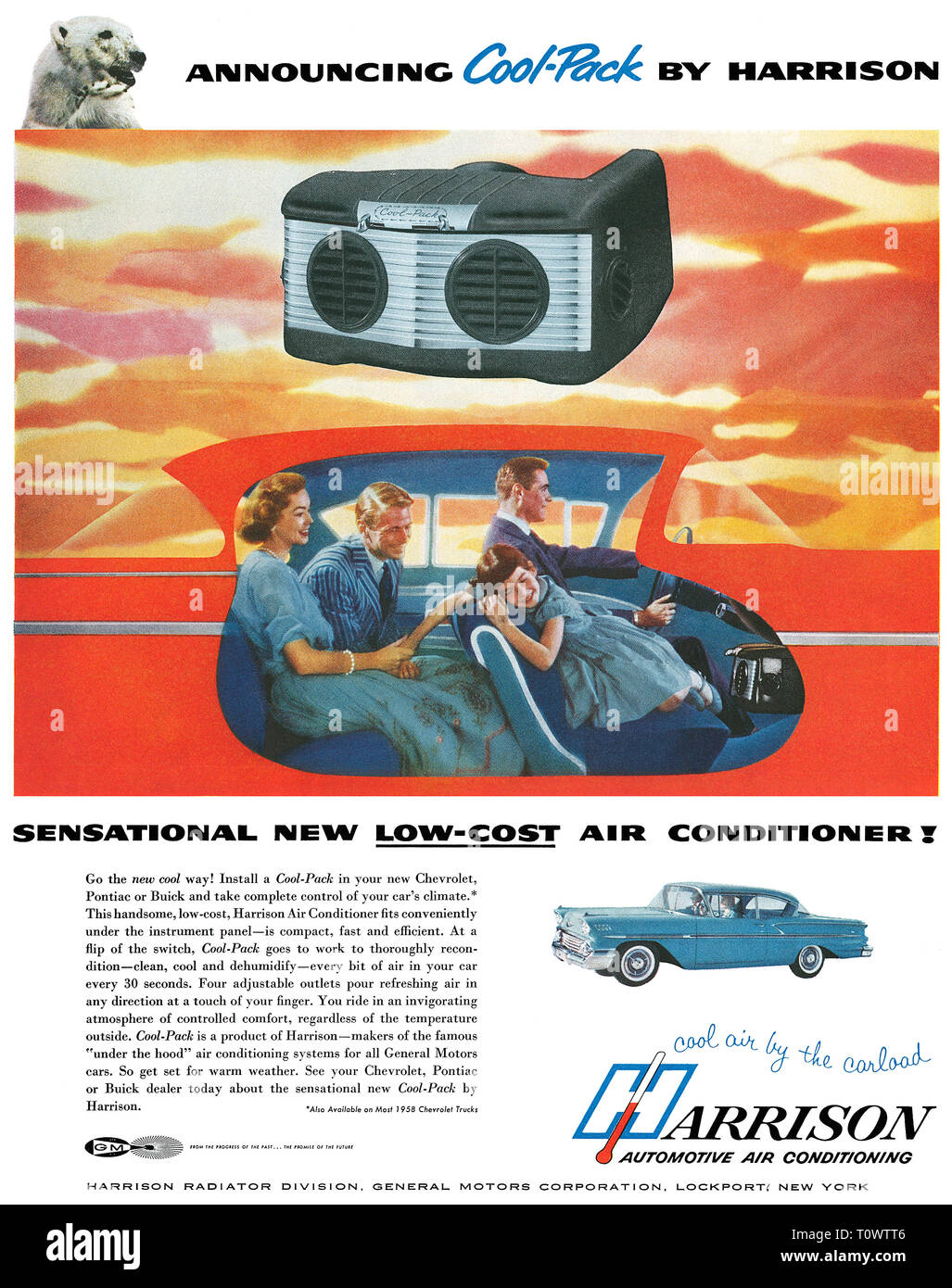1958 U.S. advertisement for Harrison automotive air conditioning. - Stock Image