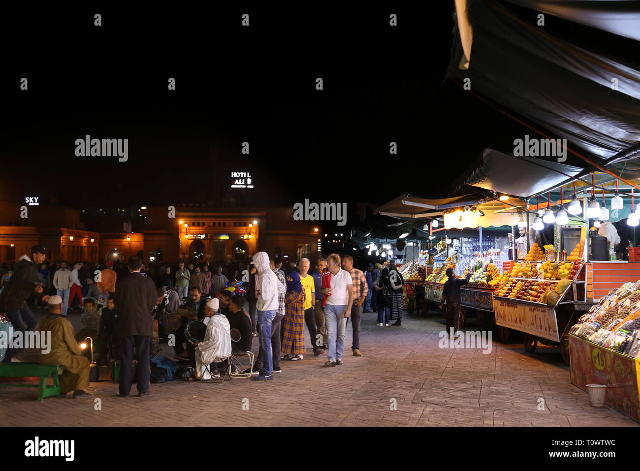 Food stalls at the Night Market, Jemaa el Fna, Medina, Marrakesh, Marrakesh-Safi region, Morocco, north Africa Stock Photo