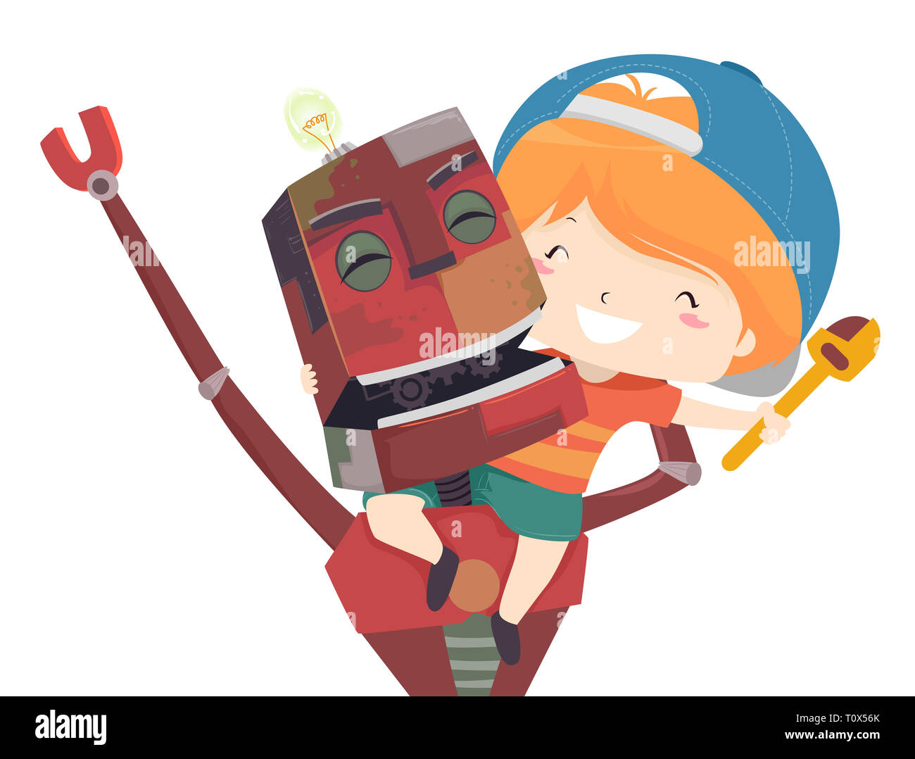 Illustration of a Kid Boy Sitting on a Happy Robots Back Made from Upcycled Materials - Stock Image