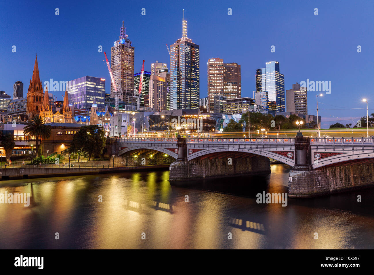 The iconic viewpoint of Melbourne's CBD from Southbank, Victoria, Australia. - Stock Image