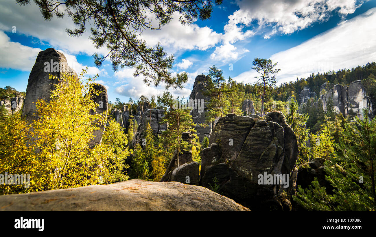 Panorama of Adrspach - Teplice Rocks - Stock Image