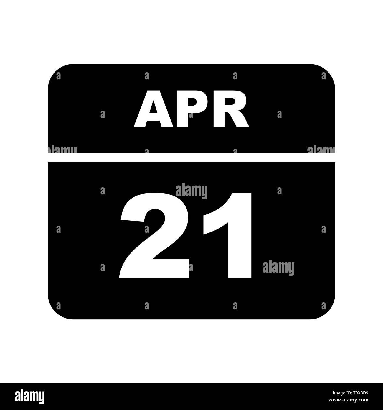 April 21st Date on a Single Day Calendar - Stock Image