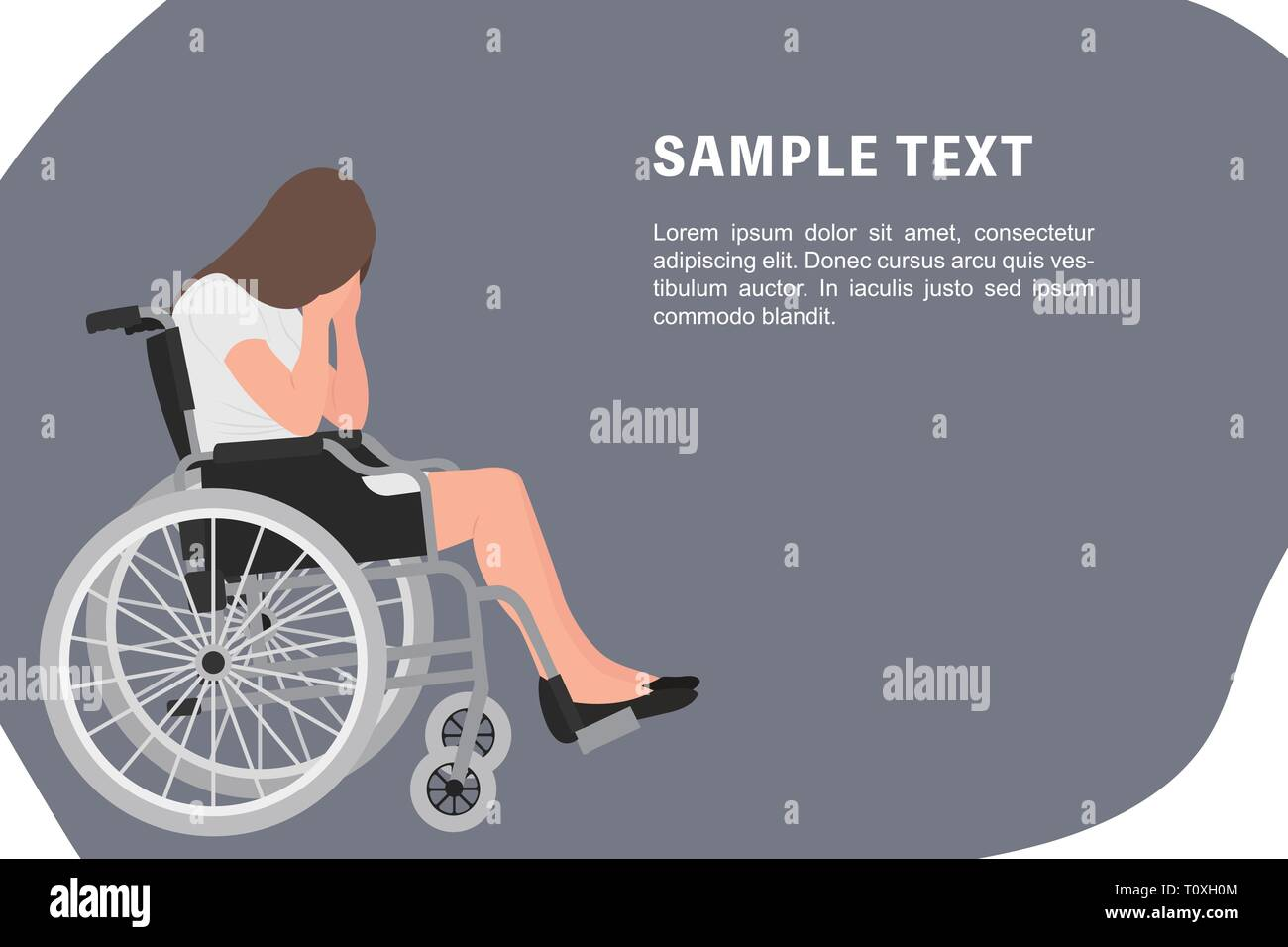 Cartoon people character design banner template sad young disabled woman sitting in a wheel chair with both hands covering her face. Ideal for both pr - Stock Vector