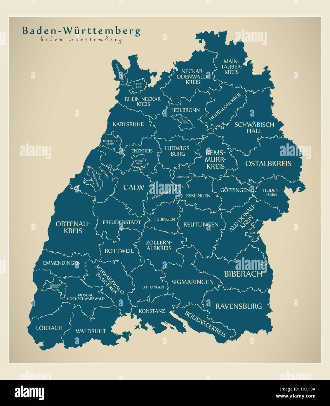 Map Of Germany And Surrounding Counties.Modern Map Baden Wuerttemberg Map Of Germany With Counties And