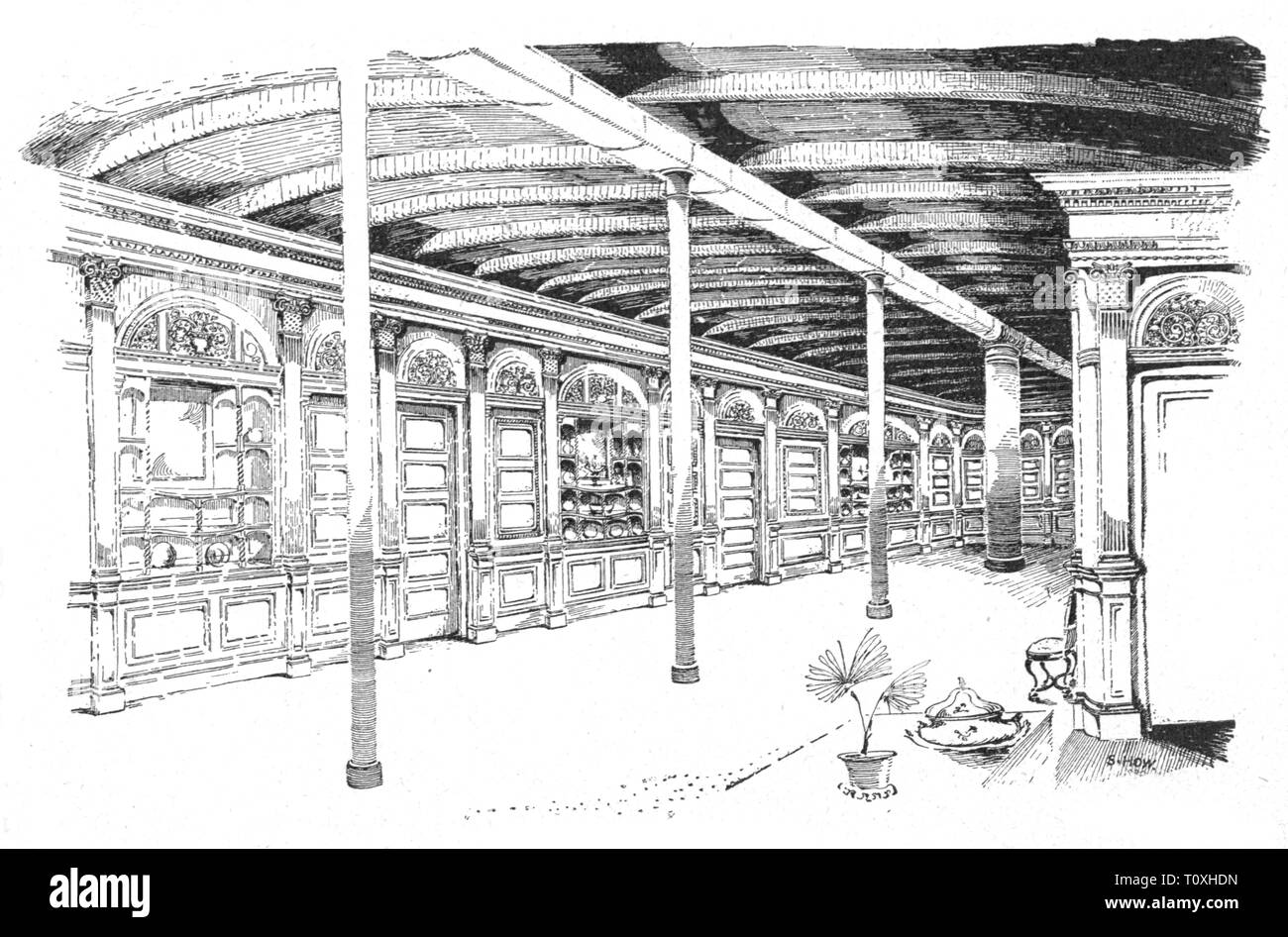 transport / transportation, navigation, steamship, inside, passenger ship 'Puritan' of the Fall River Line, detail, gambling room, wood engraving, circa 1890, Additional-Rights-Clearance-Info-Not-Available - Stock Image