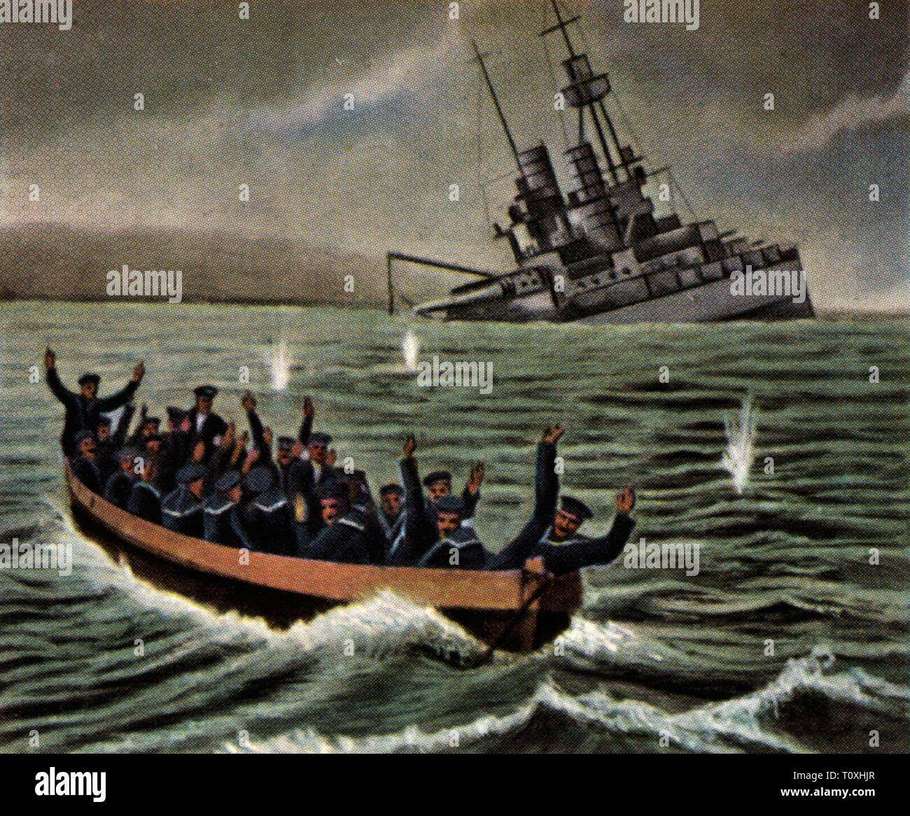 """scuttling of the German high seas fleet at Scapa Flow, Orkney, 21.6.1919, sinking ship of the line SMS """"Bayern"""", coloured photograph, cigarette card, series """"Die Nachkriegszeit"""", 1935, Imperial fleet, German Navy, military, sinkings, founder, foundering, sinking, warship, warships, sailor, seaman, sailors, seamen, jubilate, jubilating, Germany, Great Britain, United Kingdom, Scotland, people, 1910s, 20th century, 1930s, high seas fleet, deep-sea fleet, coloured, colored, post war period, post-war period, post-war years, post-war era, historic, hi, Additional-Rights-Clearance-Info-Not-Available Stock Photo"""