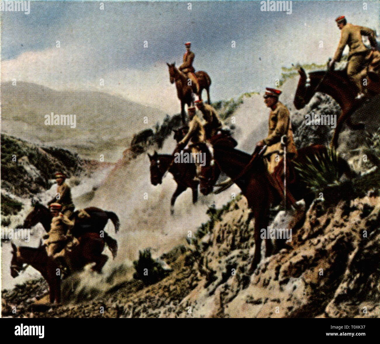 military, Bolivia, army, cavalry, patrol in the Gran Chaco, 1929, coloured photograph, cigarette card, series 'Die Nachkriegszeit', 1935, borderland to Paraguay, debatable territory, horseman, horsemen, cavalryman, cavalrymen, horse, horses, South America, armed forces, soldiers, soldier, people, 1920s, 20th century, army, armies, cavalry, cavalries, patrol, patrols, coloured, colored, post war period, post-war period, post-war years, post-war era, historic, historical, Additional-Rights-Clearance-Info-Not-Available - Stock Image