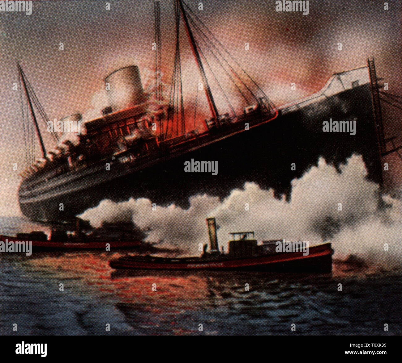 "transport / transportation, ships, ship accidents, fire on the steamship ""Europa"" of the Norddeutscher Lloyd, dockyard Blohm und Voss, Hamburg, 26.3.1929, coloured photograph, cigarette card, series ""Die Nachkriegszeit"", 1935, maritime disaster, maritime disasters, ships, ship, steamer, steamers, Germany, German Reich,  Weimar Republic, 1920s, 20th century, transport, transportation, fire, fires, steamship, steamships, dockyard, dockyards, coloured, colored, post war period, post-war period, post-war years, post-war era, historic, historical, Additional-Rights-Clearance-Info-Not-Available Stock Photo"