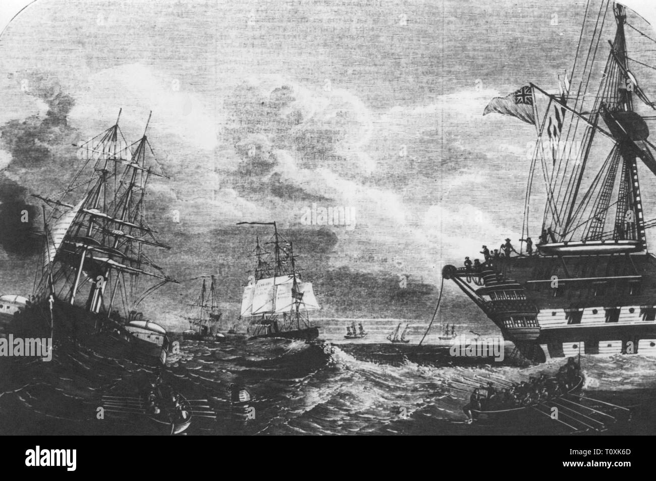 mail, telegraphy, Atlantic cable, laying 1857 - 1858, the ships HMS Agamemnon and USS Niagara begin with the laying, 1857, contemporary wood engraving, 'Illustrierte Zeitung', Leipzig, transatlantic communications cable, undersea cable, undersea cables, telegraph cable, laying, lay, lays, laid, lay cable, lay tiles, oversea connection, people, unroll, unrolling, navigation, Atlantic Ocean, Atlantic, USA, United States of America, Great Britain, 19th century, mail, post, ships, ship, begin, start, historic, historical, Additional-Rights-Clearance-Info-Not-Available - Stock Image