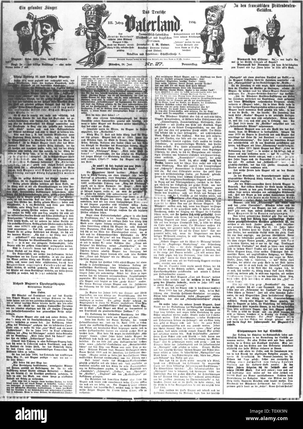 press / media, magazines, 'Das Deutsche Vaterland' (The German Fatherland), front page, editor: L.M. Lindner, IIIrd volume, number 27, Munich, 24.6.1886, Artist's Copyright has not to be cleared - Stock Image