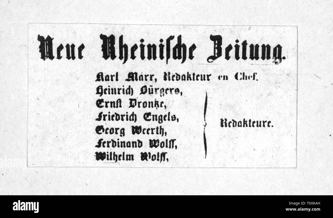"press / media, magazines, ""Neue Rheinische Zeitung"", imprint, editor: Karl Marx (1818 - 1883), Cologne, 1848 / 1849, Additional-Rights-Clearance-Info-Not-Available Stock Photo"