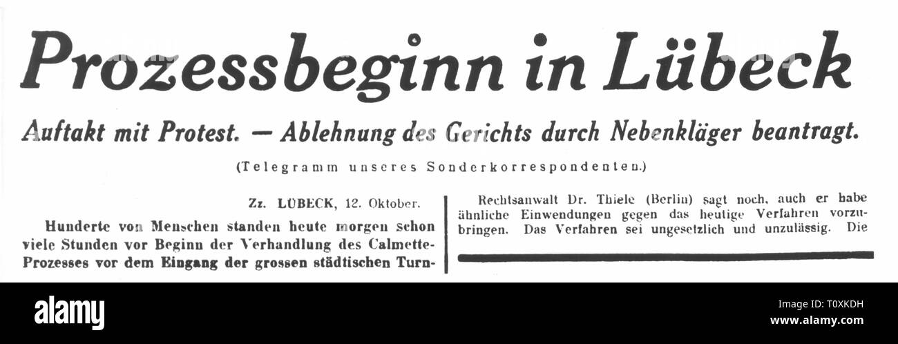 medicine, vaccination, Luebeck vaccination disaster, article about the start of the court proceedings, from: 'Berliner Tageblatt', Berlin, 12.10.1931, Additional-Rights-Clearance-Info-Not-Available - Stock Image