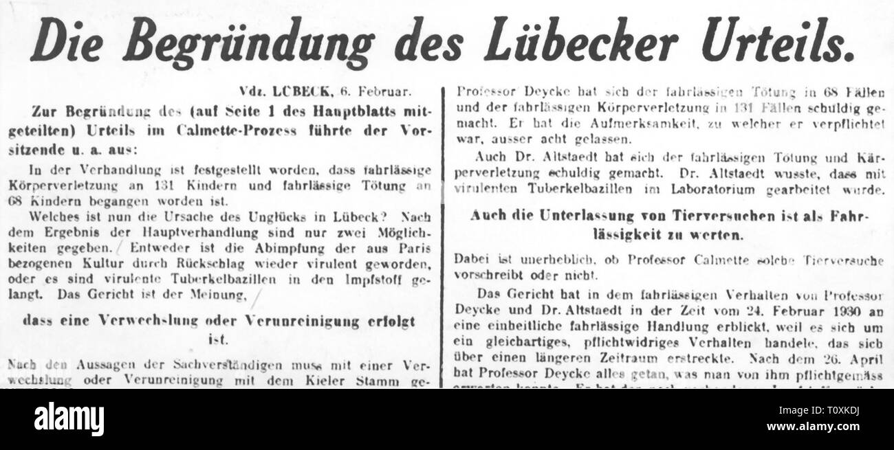 medicine, vaccination, Luebeck vaccination disaster, article about the proclamation of sentence, from: 'Berliner Tageblatt', Berlin, 6.2.1932, Additional-Rights-Clearance-Info-Not-Available - Stock Image