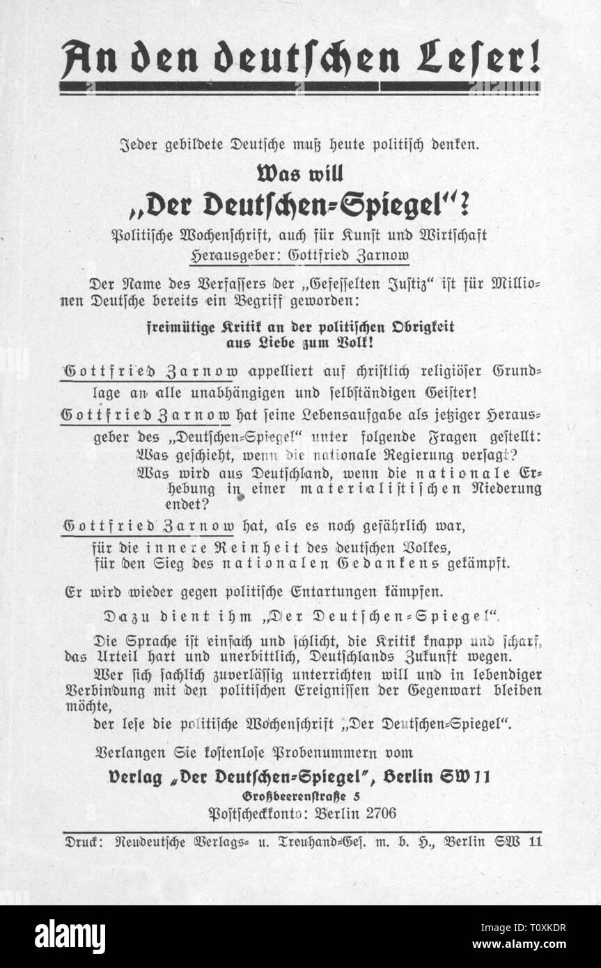 advertising, magazines, promotional leaflet for magazine 'Der Deutschen-Spiegel' (The German Mirror), editor: Gottfried Zarnow, Berlin, 1933, Additional-Rights-Clearance-Info-Not-Available - Stock Image
