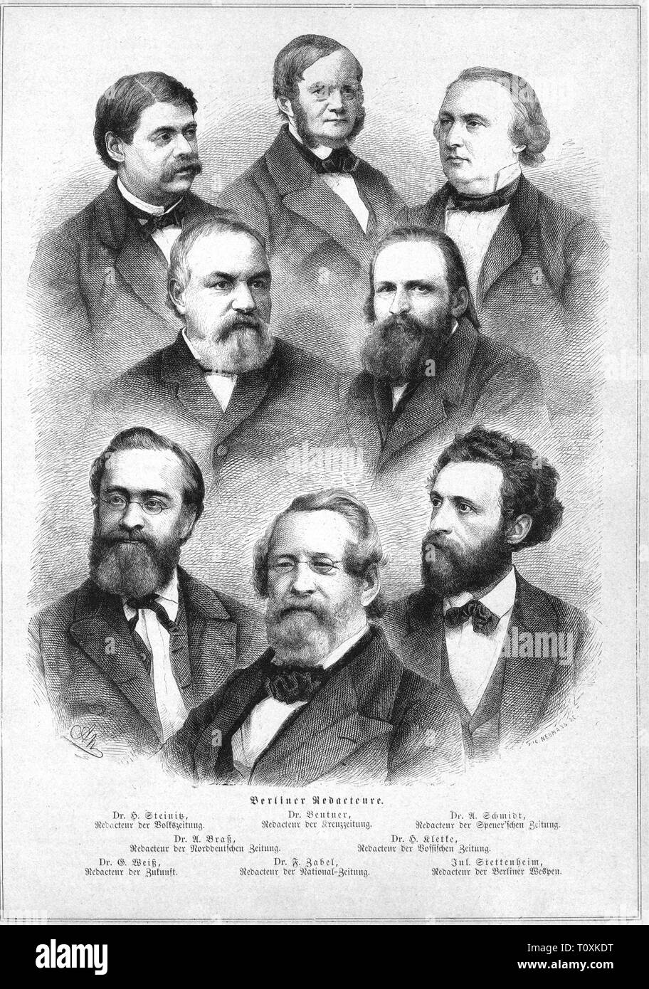 press / media, magazines, portraits of chief editors of Berlin newspapers, wood engraving, by Neumann, from: 'Die Gartenlaube', Leipzig, 1869, Artist's Copyright has not to be cleared - Stock Image