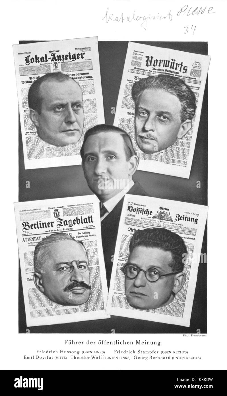 press / media, magazines, portraits of chief editors of Berlin newspapers, composite photograph, top fltr: Friedrich Hussong (1878 - 1943) (Berliner Lokal-Anzeiger), Friedrich Stampfer (1874 - 1957) (Vorwaerts), center: Emil Dovifat (1890 - 1969), bottom fltr: Theodor Wolff (1868 - 1943) (Berliner Tageblatt), Georg Bernhard (1875 - 1944) (Vossische Zeitung), from: 'Deutsche Kurz-Post', special supplement 21, Berlin, 1929, Additional-Rights-Clearance-Info-Not-Available - Stock Image