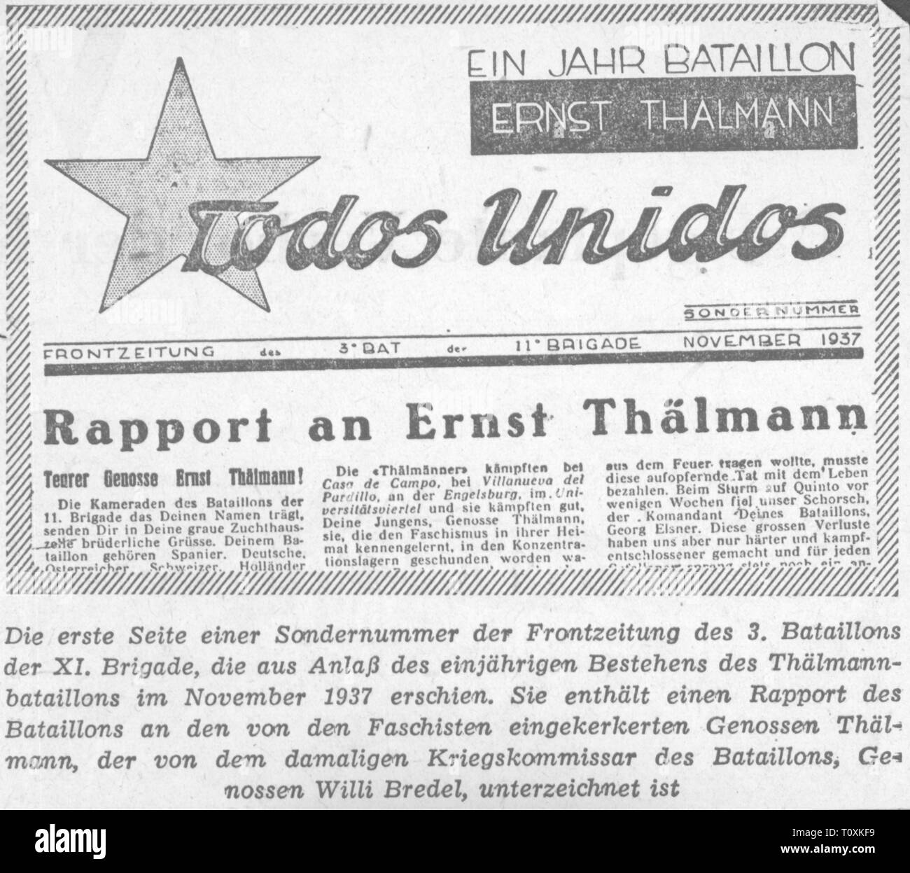 press / media, magazines, 'Todos Unidos', front page, editor: 3rd battalion XIth International Brigade, special edition, November 1937, Additional-Rights-Clearance-Info-Not-Available - Stock Image