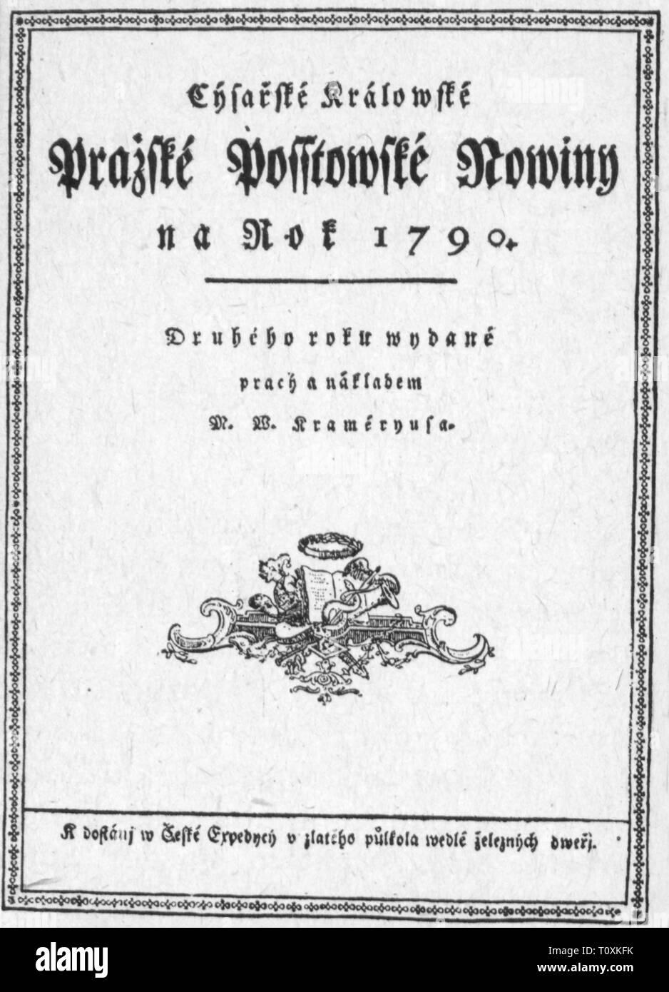 press / media, magazines, 'Prazske postovske noviny' (Prague Postal Paper), front page, editor: Vaclav Matej Kramerius (1759 - 1808), 2nd volume, Prague, 1790, Additional-Rights-Clearance-Info-Not-Available - Stock Image