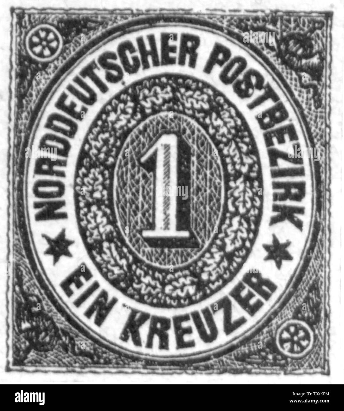 mail, postage stamps, Germany, Northern German postal district, 1 Kreuzer postage stamp, 1868, Additional-Rights-Clearance-Info-Not-Available - Stock Image