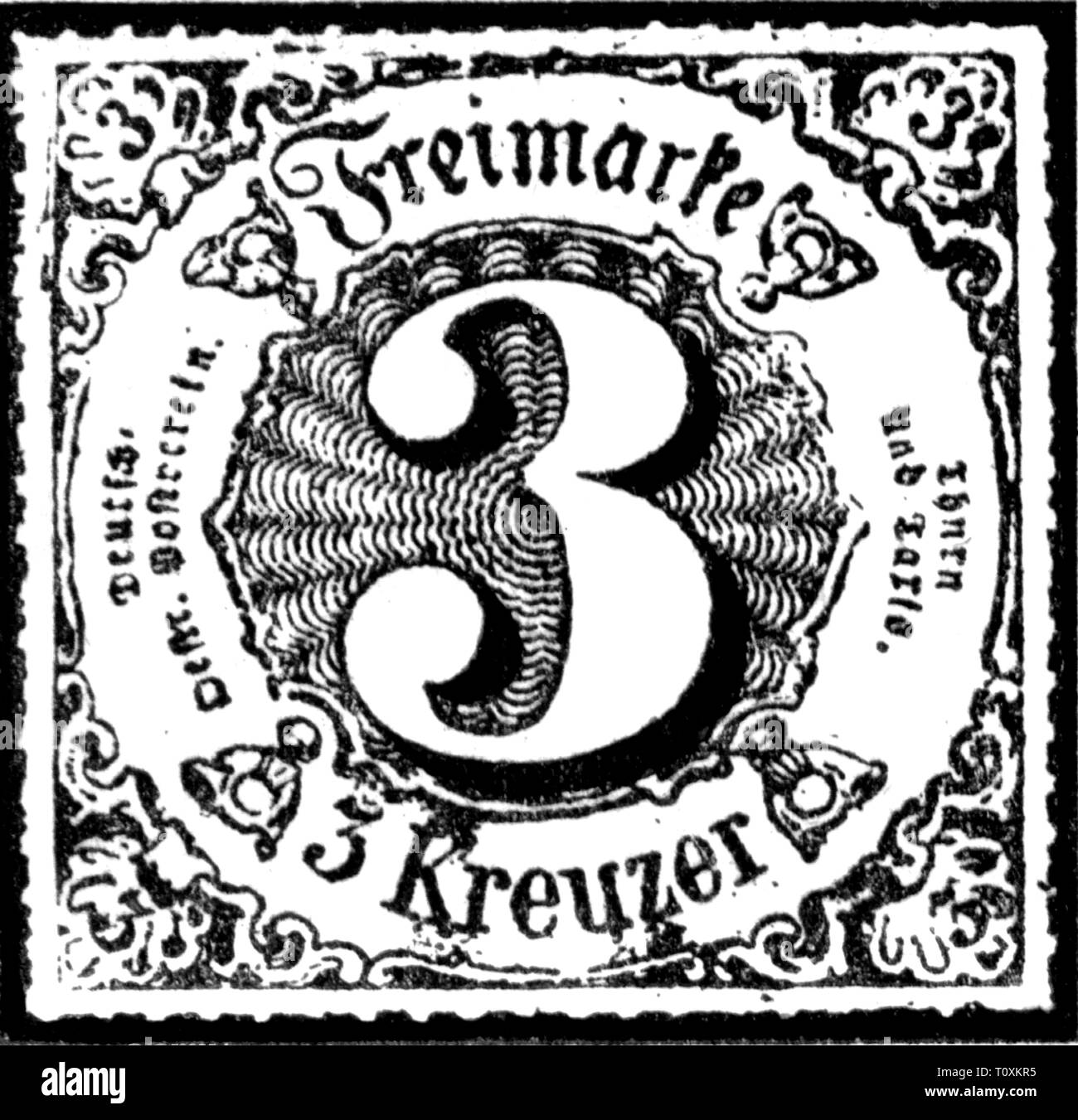 mail, postage stamps, Germany, Thurn-und-Taxis-Post, 3 Kreuzer postage stamp, Southern district, 1866, Additional-Rights-Clearance-Info-Not-Available - Stock Image