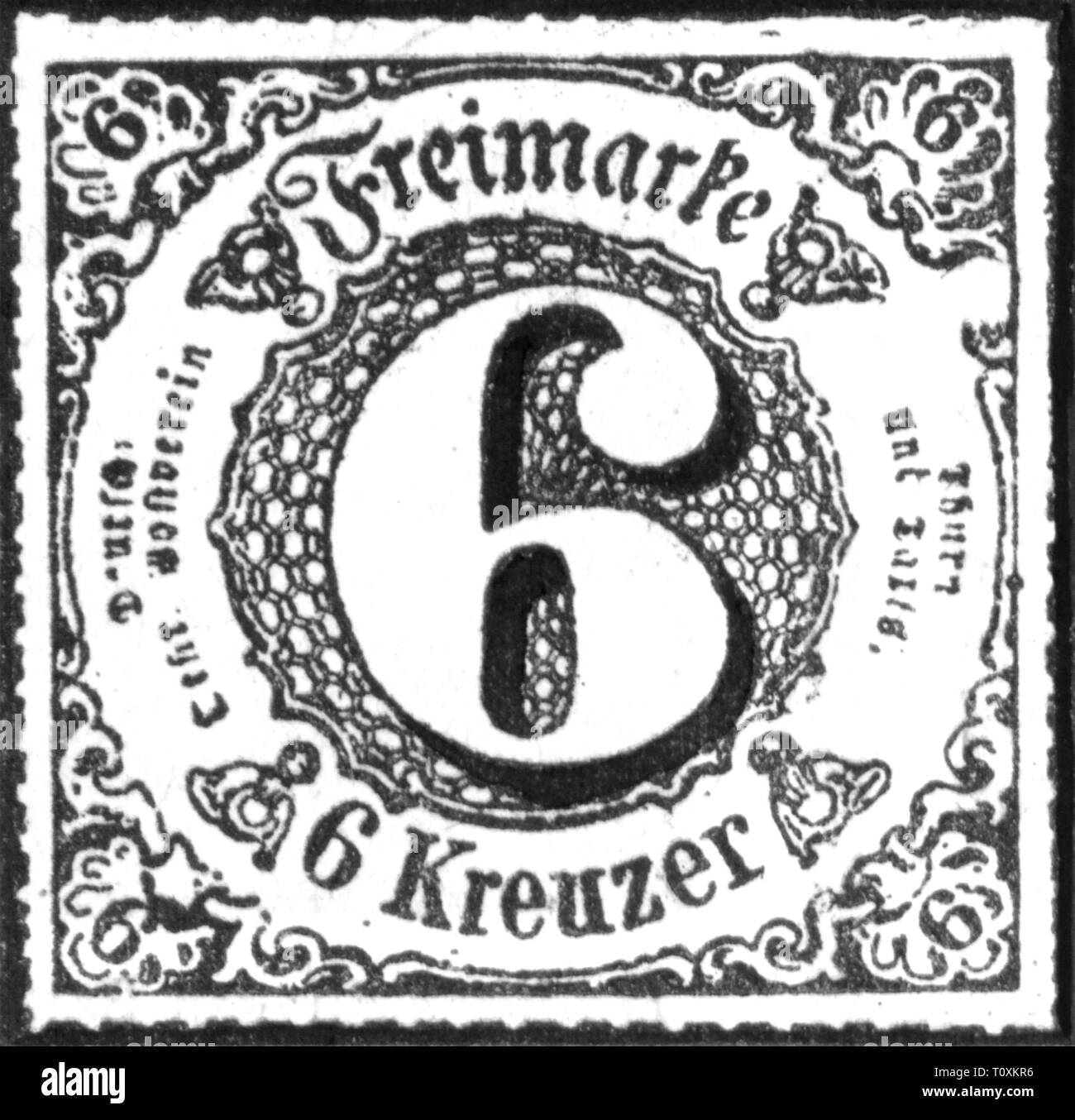 mail, postage stamps, Germany, Thurn-und-Taxis-Post, 6 Kreuzer postage stamp, Southern district, 1866, Additional-Rights-Clearance-Info-Not-Available - Stock Image