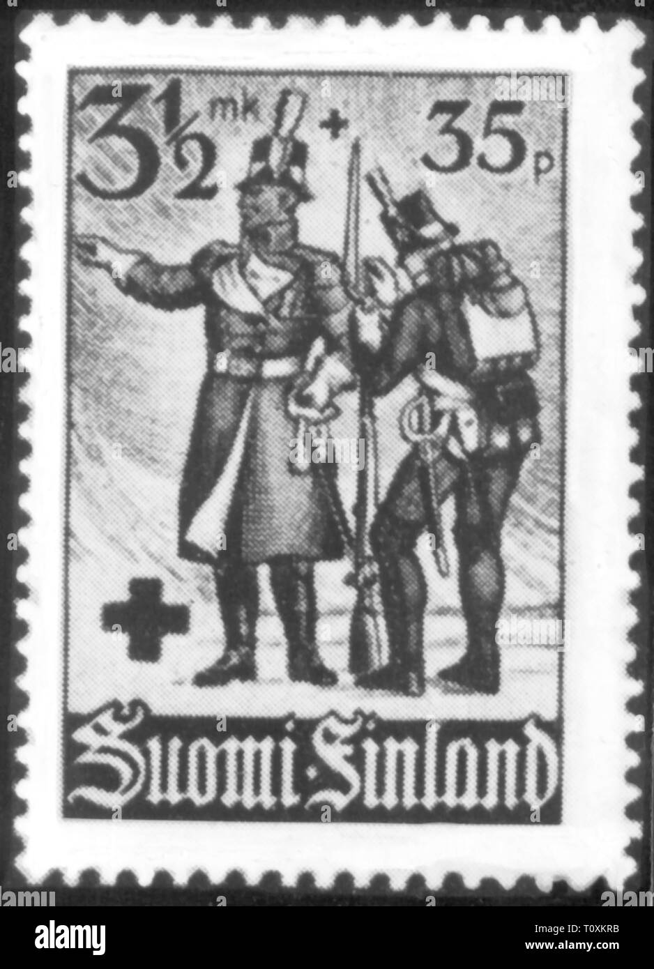 mail, postage stamps, Finland, 3 1/2 markka + 35 penniae special issue, in favour of the Red Cross, series Finnish soldiers in the course of the centuries, date of issue: 26.1.1940 Finnish markka, Finnmark, pfennig, penny, Pfennigs, military, propaganda, Soviet - Finnish war, winter war, Second World War / WWII, people, 20th century, 1940s, mail, post, postage stamps, postage stamp, cross, crosses, soldiers, soldier, historic, historical, pennia, penniä, Additional-Rights-Clearance-Info-Not-Available - Stock Image