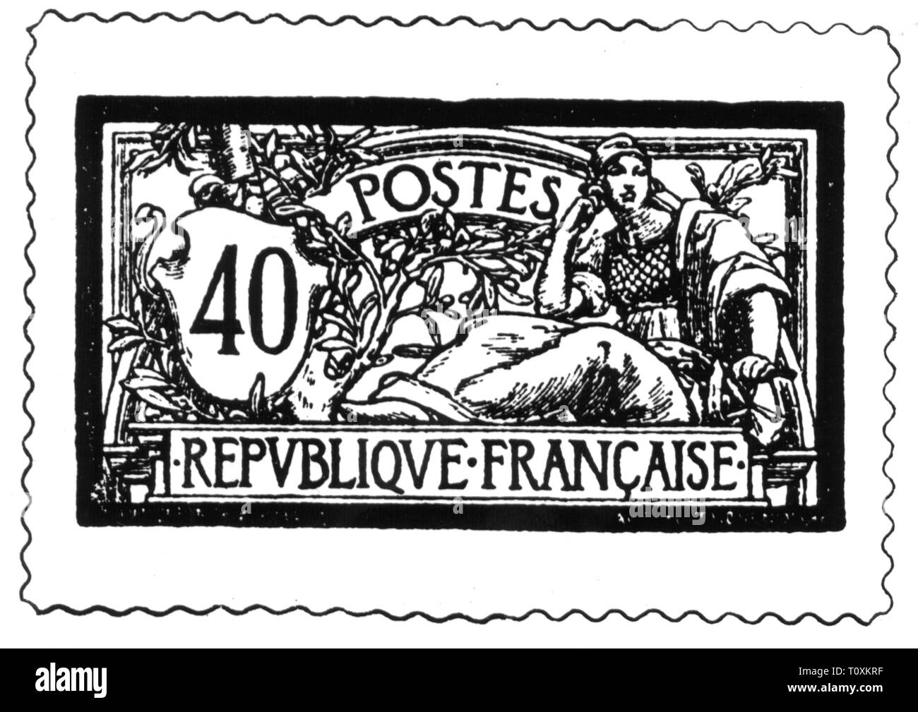 mail, postage stamps, France, 40 centimes postage stamp, 1920, Additional-Rights-Clearance-Info-Not-Available - Stock Image