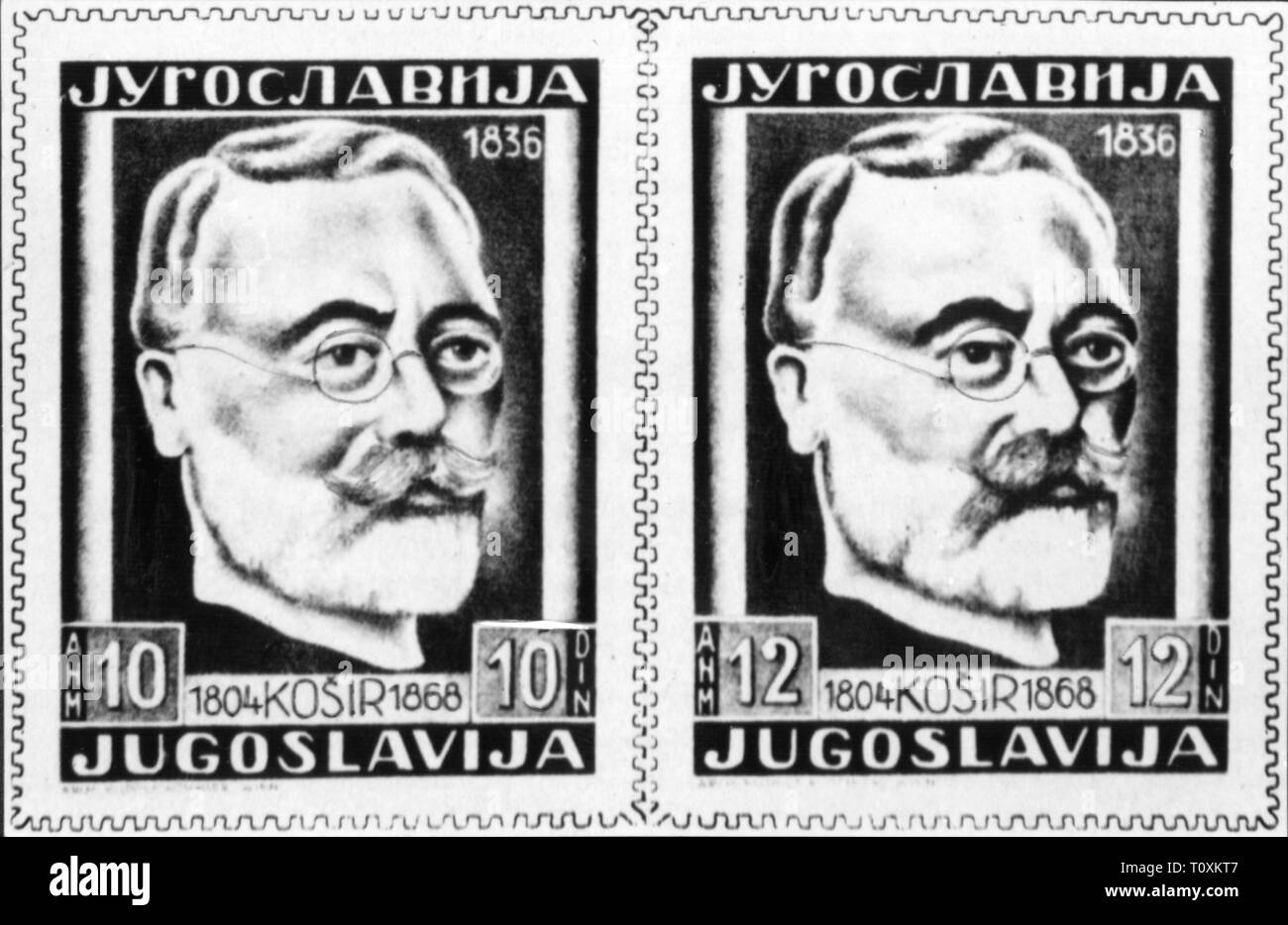mail, postage stamps, Yugoslavia, 12 dinar special issues, commemorating Lovrenc Kosir, date of issue: 1948, Additional-Rights-Clearance-Info-Not-Available - Stock Image