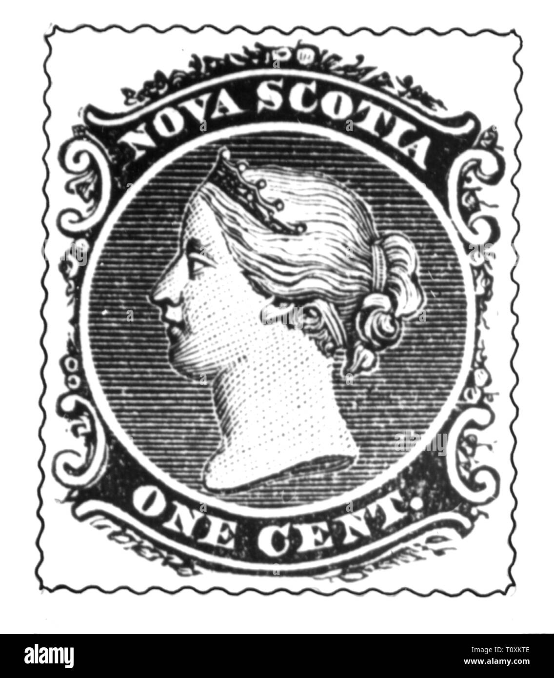 mail, postage stamps, Canada, Nova Scotia, 1 cent postage stamp, portrait of Queen Victoria I, date of issue: 1860, Additional-Rights-Clearance-Info-Not-Available - Stock Image