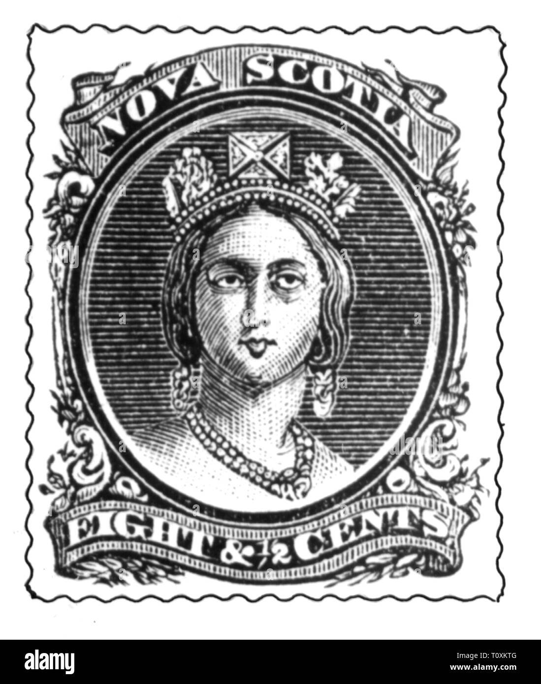 mail, postage stamps, Canada, Nova Scotia, 8 1/2 cent postage stamp, portrait of Queen Victoria I, date of issue: 1860, Additional-Rights-Clearance-Info-Not-Available - Stock Image