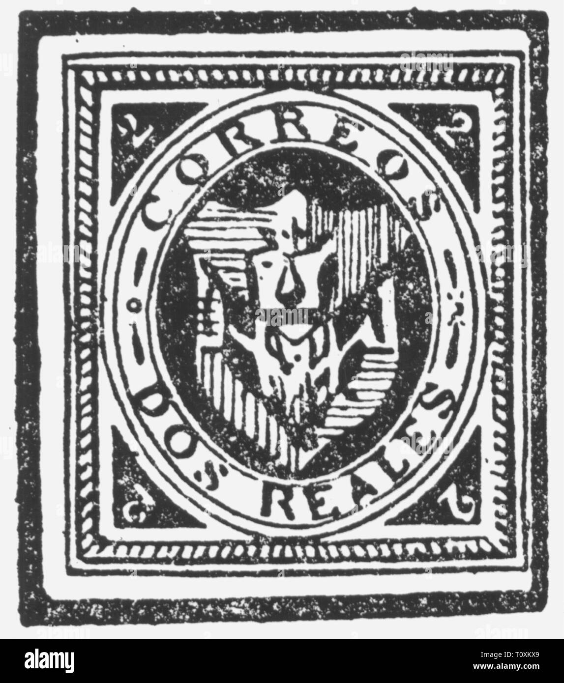 mail, postage stamps, forgery, fake 2 reales postage stamp, Dominican Republic, falsification by Samuel Allan Taylor, 1865, Additional-Rights-Clearance-Info-Not-Available - Stock Image