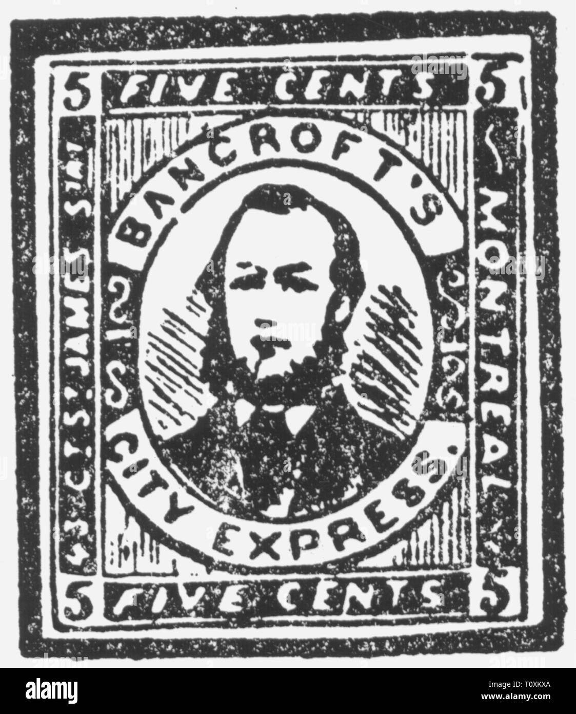 mail, postage stamps, falsification, fake 5 cent postage stamp, Bancroft's City Service, Montréal, Canada, falsification by Samuel Allan Taylor, circa 1866, Additional-Rights-Clearance-Info-Not-Available - Stock Image